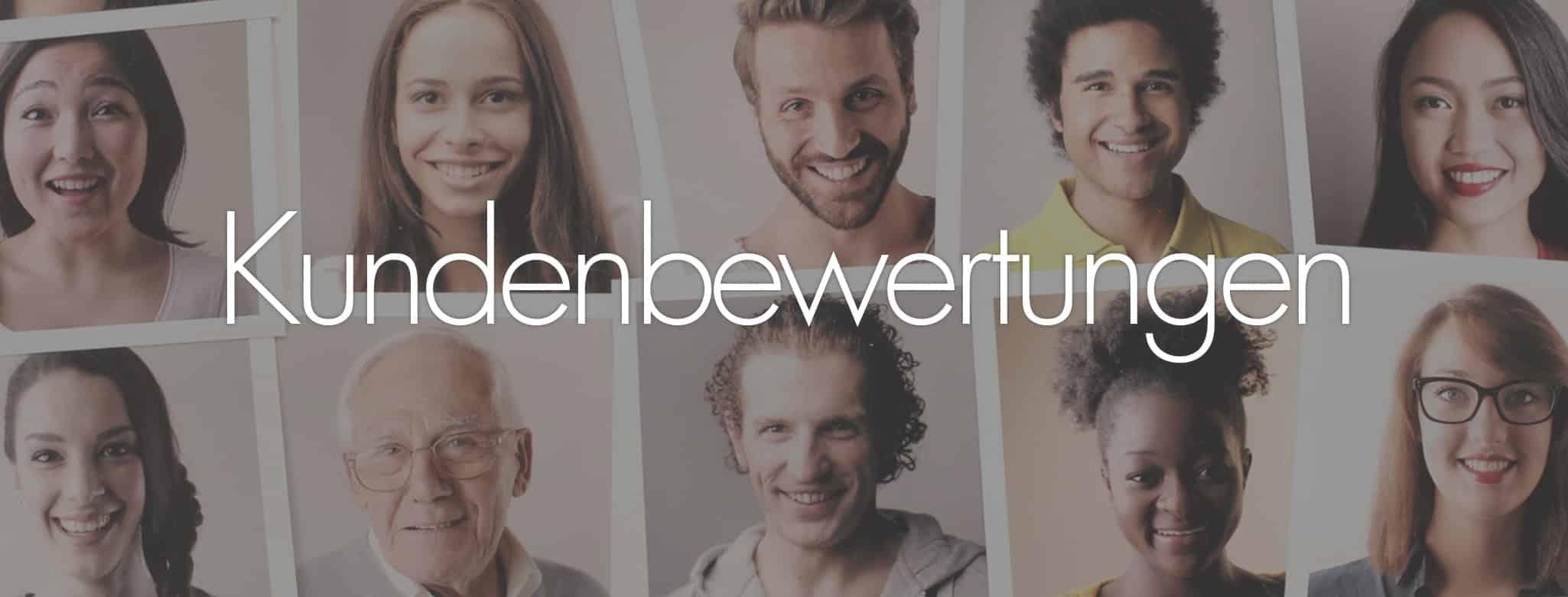 Kundenbewertungen - Bild von verschiedenen Personen, zusammengefasst